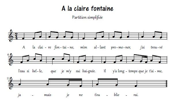 partition guitare a la claire fontaine
