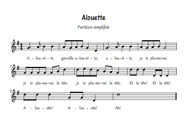 Alouette_partition simplifiée