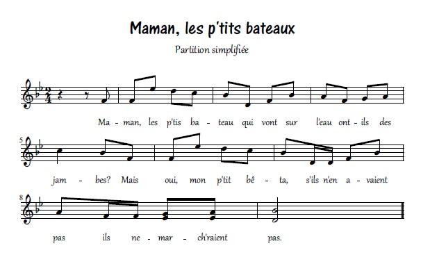 Maman, les p`tits bateaux_partition simplifiée